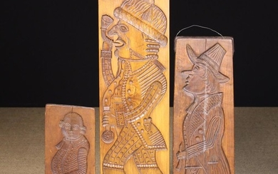 Three Carved Treen Gingerbread Moulds; double sides with full length portraits of a man to one side