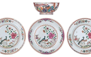 Three Chinese famille rose export porcelain dishes, decorated with a...