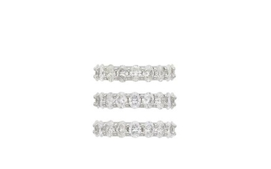 Three Platinum and Diamond Band Rings