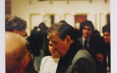 Three colour photographs of Francis Bacon at a gallery private view party circa 1980. Probably by John Edwards