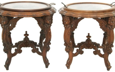 Two Figural Carved Walnut Serving Tables
