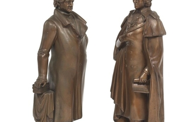 Two Patinated Sculptures of Goethe and Schiller