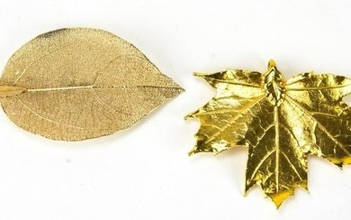 Two Vintage Gold Plated Leaf Necklace Pendants
