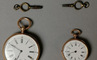 Two gusset watches, gold, one with a guilloche...