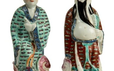 Two immortals, Chinese porcelain glazed figurines.