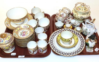 Two trays of 19th century Continental porcelain including: a gilt...