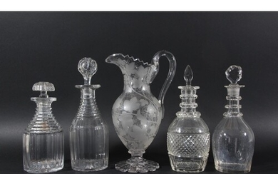 VICTORIAN GLASS WINE EWER, engraved with fruiting vines, hei...