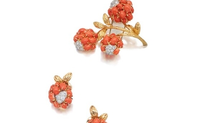 Van Cleef & Arpels | Pair of Coral and Diamond Earclips and 'Three Flowers' Clip-Brooch