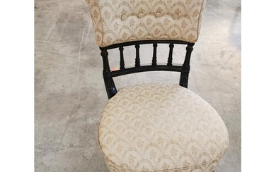 Victorian Nursery Chair with Bannister and Upholstered Cushi...