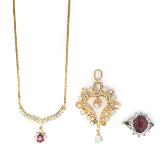 White Gold, Garnet and Diamond Ring, Gold, Pink Tourmaline and Diamond Pendant-Necklace and Gold and Opal Pendant-Brooch