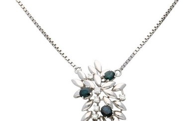 White gold venetian link necklace with pendant, with approx. 0.29 ct diamond and natural sapphire - 18 ct.