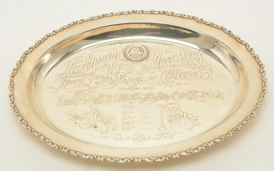 Whiting sterling silver oval trophy with acid edge