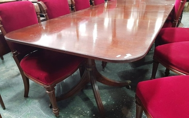 William Tillman Georgian Style Mahogany Extension Dining Table, with two leaves, 'D' shaped ends & pedestals with three outswept feet