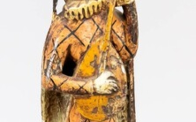 Wooden figure of a harlequin with lute, painted wooden figure on a rectangular plinth, unsigned, ber., H. 42 cm