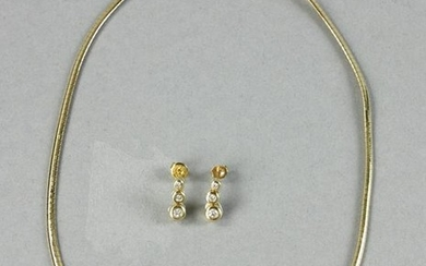 Yellow Gold and Diamond Necklace, Pair Matching