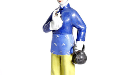 cultural revolution, Chinese porcelain, portraying young woman