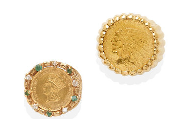 two gold coin rings