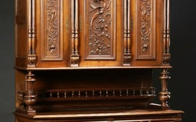 French Provincial Henri II Style Carved Walnut Buffet a