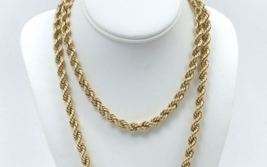 14K 40'' 8MM WIDE HOLLOW ROPE CHAIN
