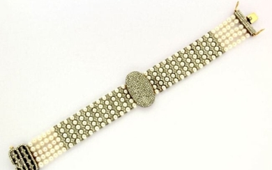 14k Yellow Gold and Sterling Silver Victorian Pearl and