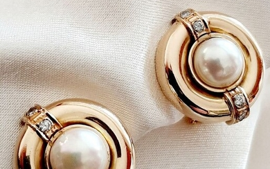 18 kt. Akoya pearls, Yellow gold, 6.5 mm - Earclips - Diamonds