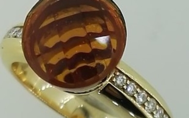 18 kt. Gold, Pink gold - Ring - 0.50 ct Diamond - Citrine