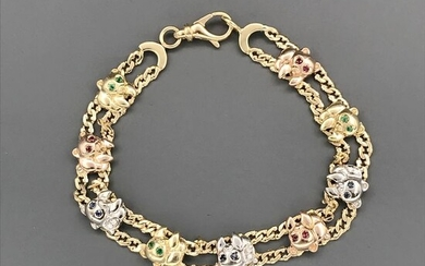 18 kt. Pink gold, White gold, Yellow gold - Bracelet - Diamonds, Emeralds, Rubys, Sapphires