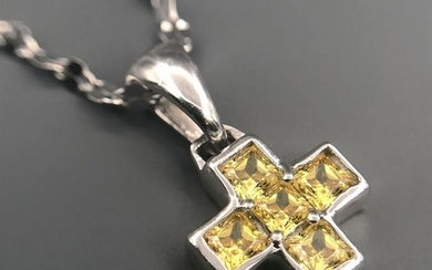 18 kt. White gold - Necklace with pendant - 0.20 ct Citrine