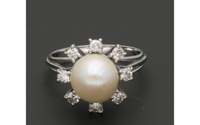 18 kt. White gold - Ring - 0.40 ct Diamond - Pearl