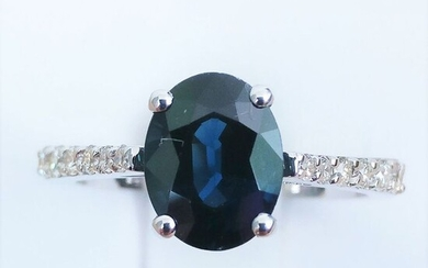 18 kt. White gold - Ring - 2.15 ct Sapphire - Diamond