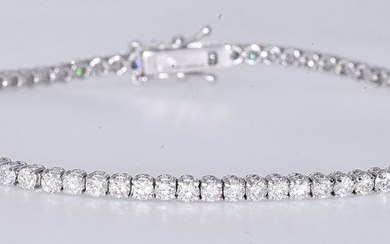 18 kt. White gold - Tennis Bracelet - 3.19 ct Diamond