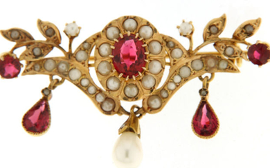 18 kt. Yellow gold - Brooch glass - Pearls