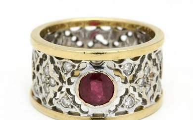 18KT Bi-Color Gold, Ruby, and Diamond Ring