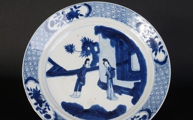 18th century blue and white porcelain plate with long lines in garden landscape (1) - Blue and white - Porcelain - China - Kangxi (1662-1722)