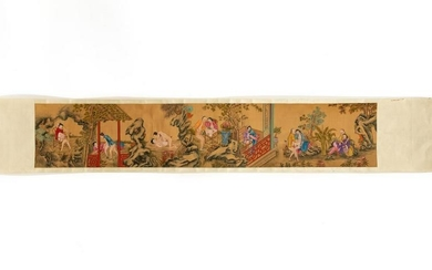 1920S CHINESE EROTIC PAINTED SCROLL ON SILK