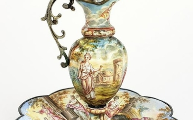 19th C. Viennese Enamel on Silver Vase w/ Underplate