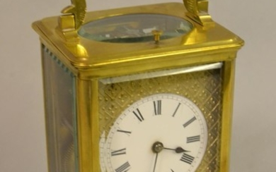 19th Century French gilt brass carriage clock, the enamel di...
