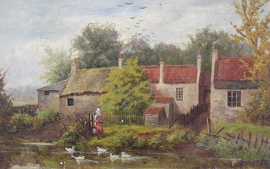 19th century oil on board, figure before a duck pond, bears signature (later added), 18 x 24cm.