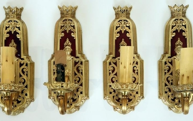SET 4 GOTHIC STYLE BRASS WALL SCONCES C.1920