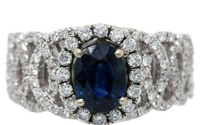 2.85 tcw Blue Sapphire Natural Diamond Oval Ring in 14K
