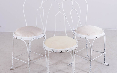 (3) twisted metal white painted ice cream chairs
