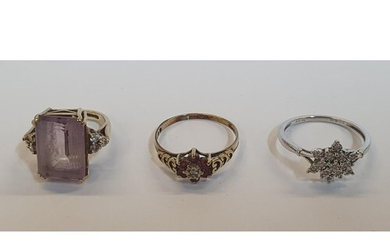 3 x 9ct rings, one yellow gold Amethyst and Diamond ring, on...