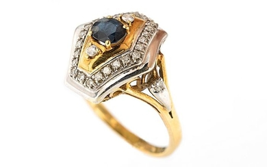 18 kt. White gold, Yellow gold - Ring - 0.65 ct Sapphire - Diamonds