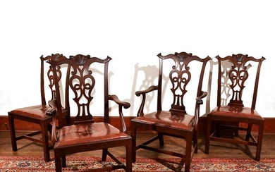 (4pc) MAHOGANY CHIPPENDALE STYLE CHAIRS