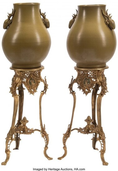 61243: A Large Pair of Celadon Porcelain Urns on Rococo