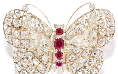 RUBY AND DIAMOND BUTTERFLY BROOCH in gold or platinum