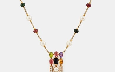 "A Bulgari necklace ""Allegra"" in 18K gold set with coloured stones, cultured pearls and diamonds"
