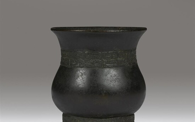 A Chinese archaistic patinated bronze vase, Zun Ming dynasty,...