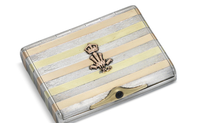 A FRENCH SILVER AND GOLD CIGARETTE CASE, MARK OF AUGUSTE BESSON, PARIS, 20TH CENTURY, WITH LONDON IMPORT MARK FOR GEORGE STOCKWELL, 1923