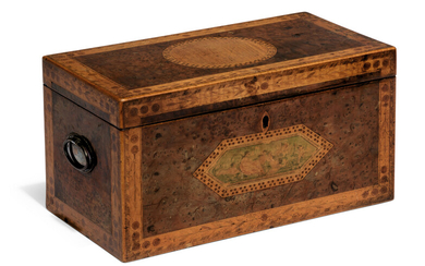 A GEORGE III YEW, SYCAMORE AND MARQUETRY TEA CADDY